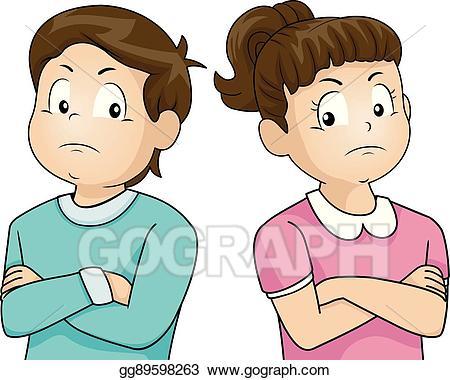 Arguing sibling clipart jpg black and white Vector Illustration - Kids argument ignore. EPS Clipart gg89598263 ... jpg black and white