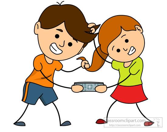 Clipart cartoon little girls fighting pulling hair