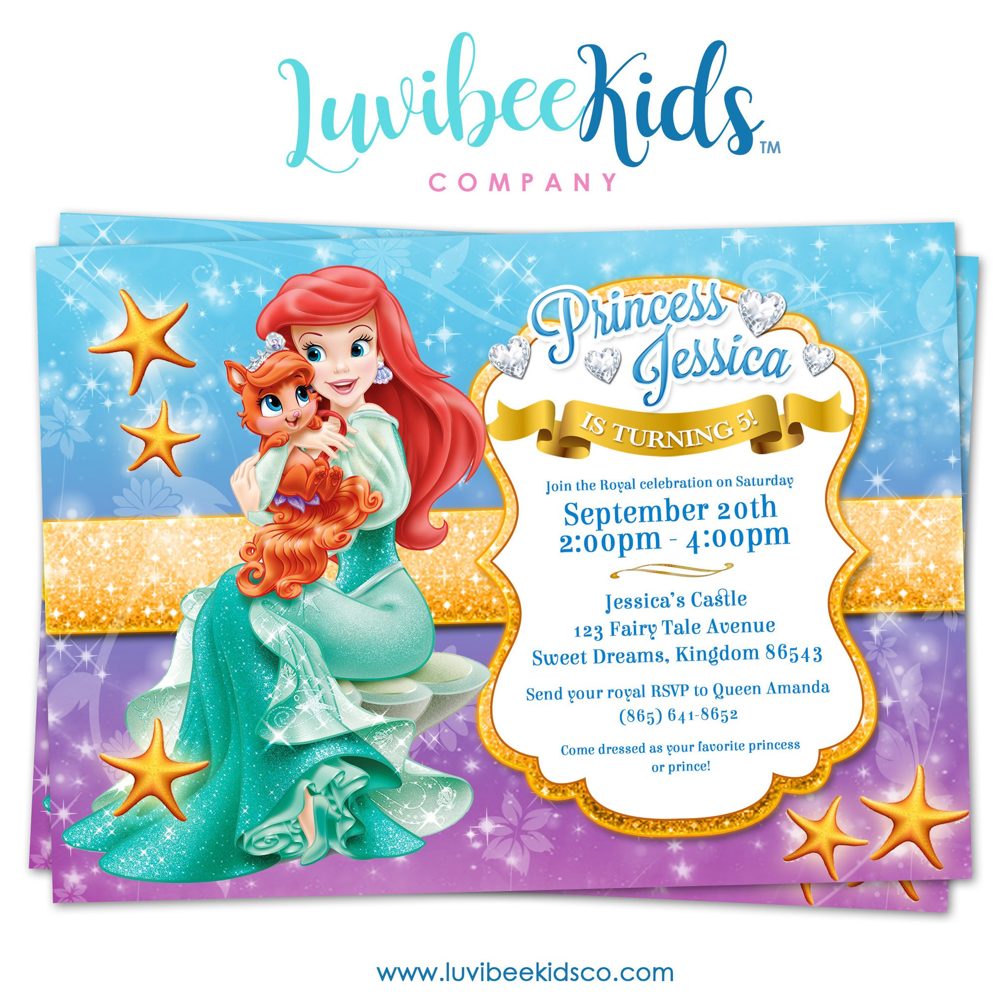 Little mermaid birthday clipart