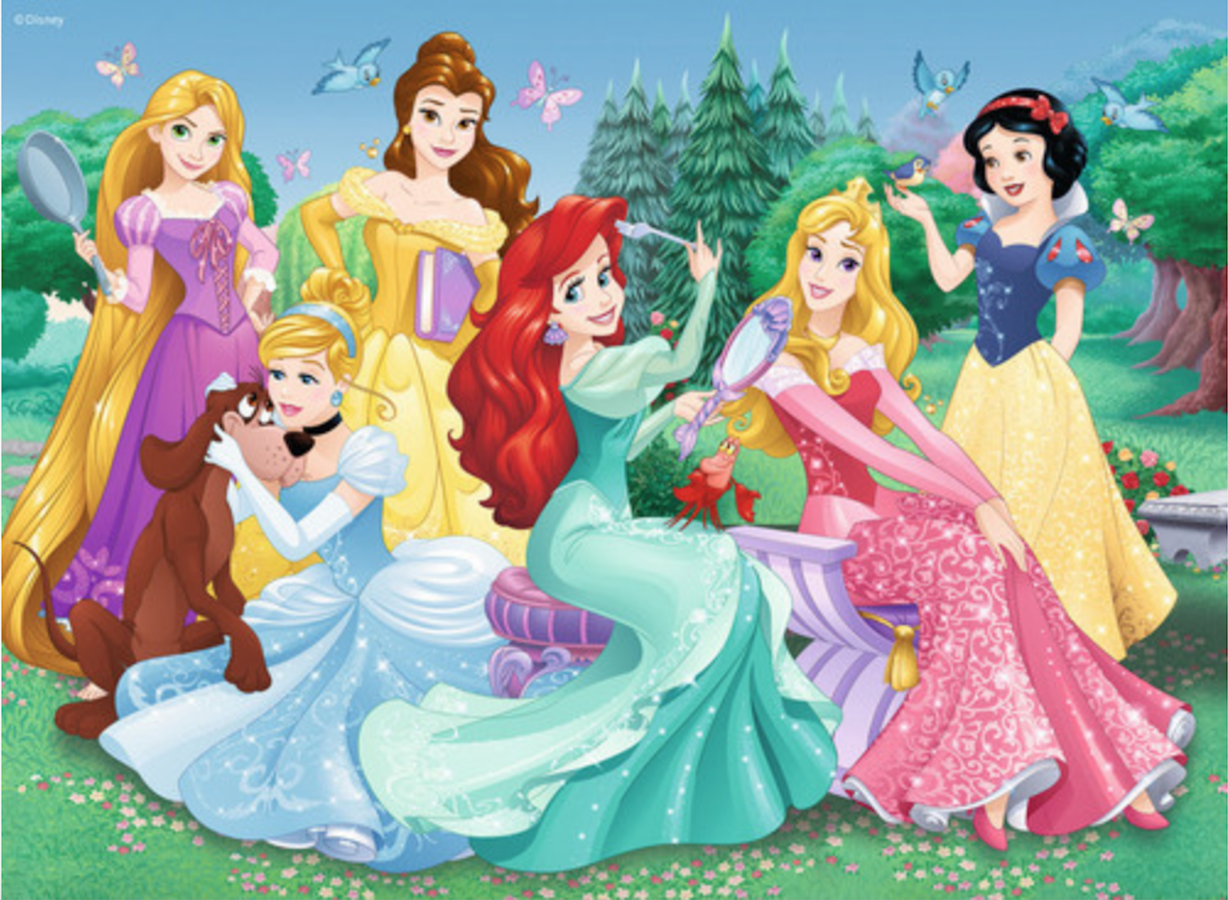 Ariel snow white cinderella belle aurora tangled princess clipart royalty free library Cinderella, Ariel, Aurora, Snow White, Belle and Rapunzel Disney ... royalty free library