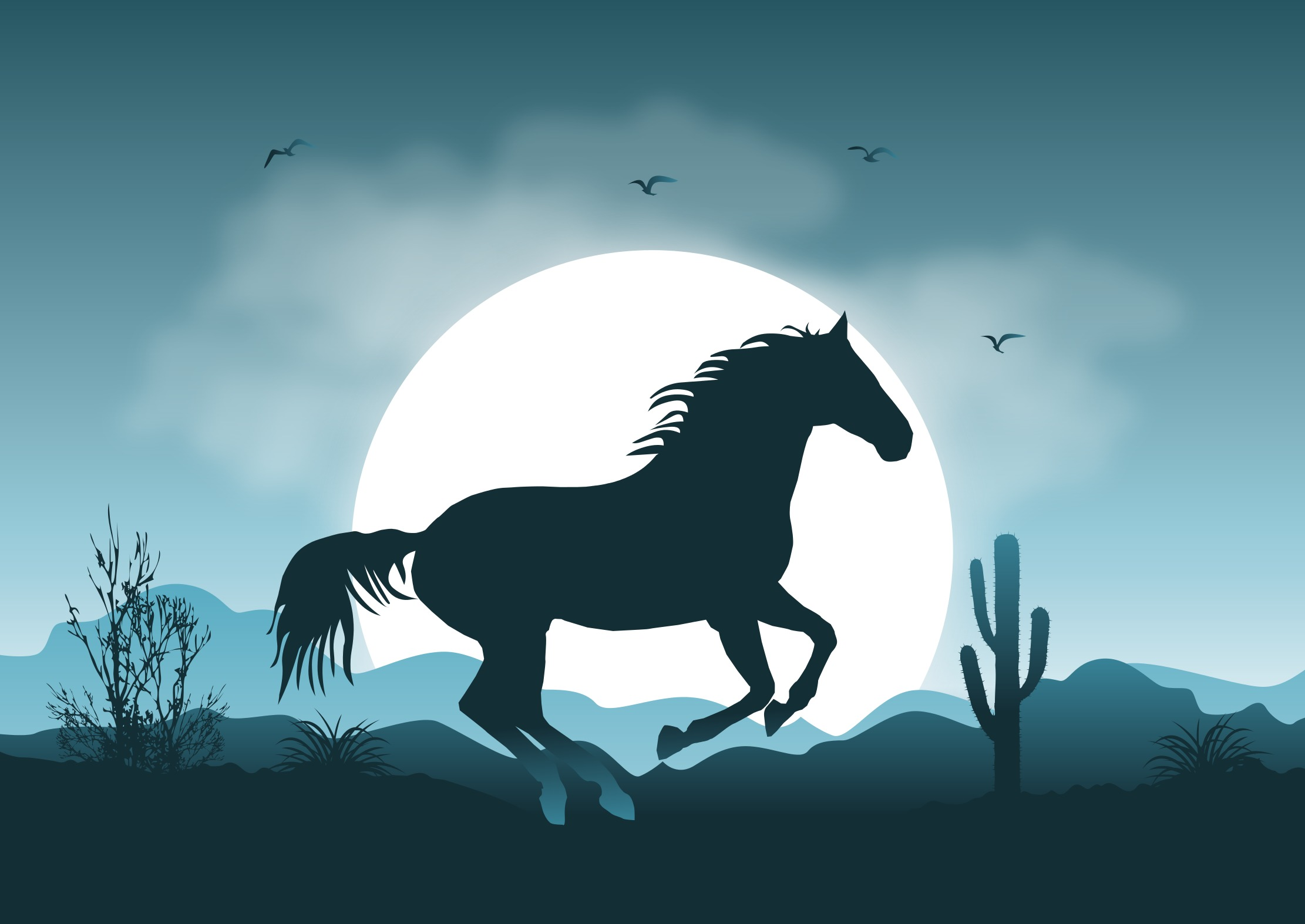Arizona landscape and horse clipart