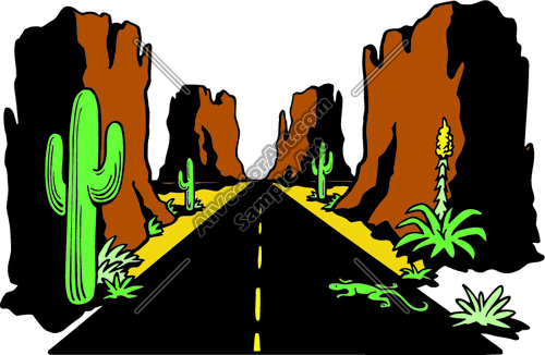 Arizona landscape and horse clipart picture free Arizona Hightway Desert Road Landscape Clipart and Vectorart: Misc ... picture free