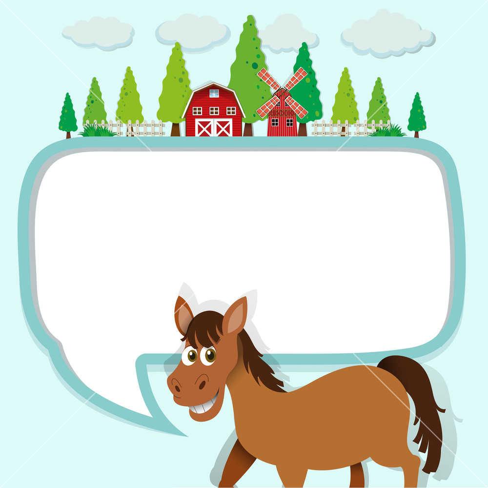 Arizona landscape and horse clipart clipart transparent download Border design with horse and farm illustration Royalty-Free Stock ... clipart transparent download