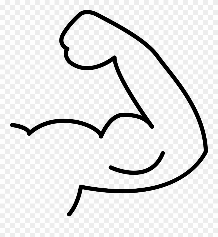 Muscle flex outline comments. Flexed arm clipart
