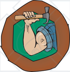 Arm holding hammer clipart