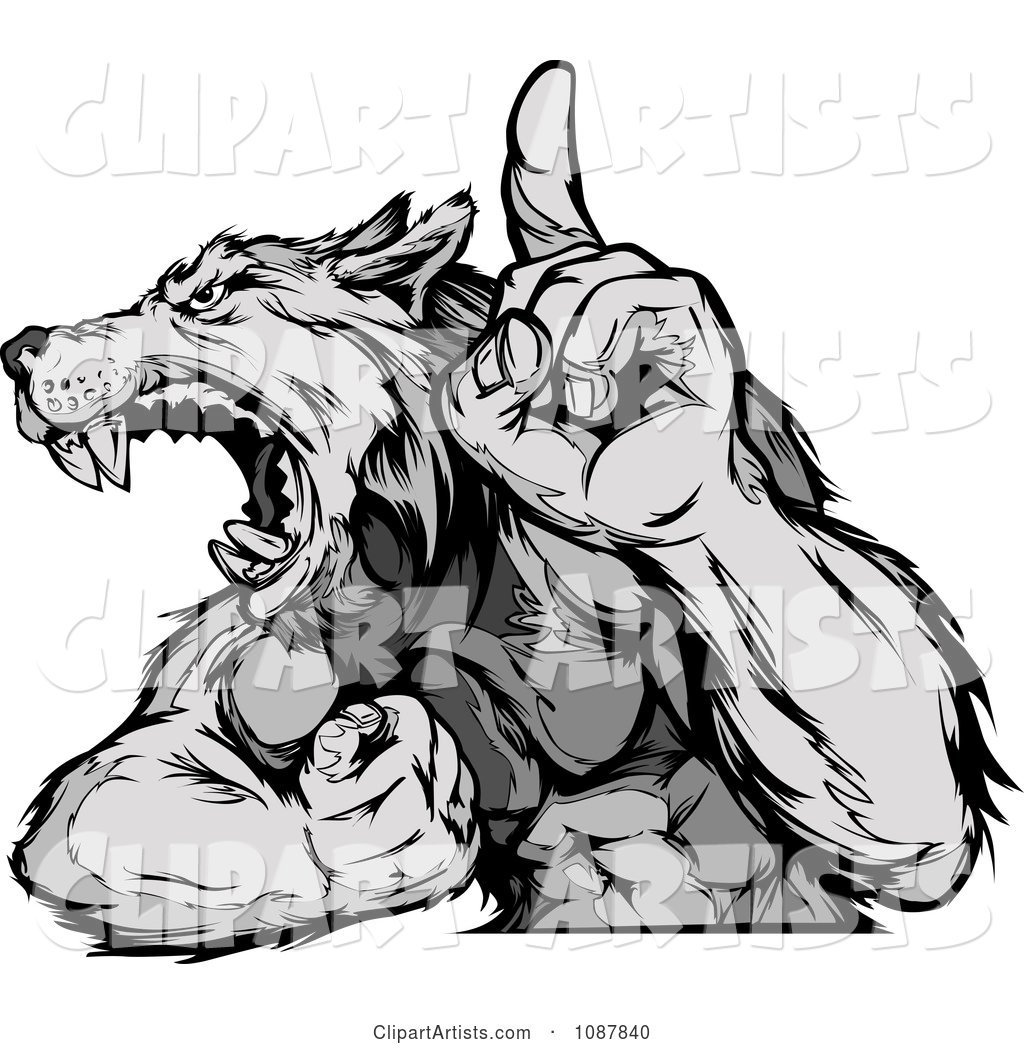 Arm holding up clipart picture black and white stock Victorious Wolf Mascot Flexing His Arm And Holding Up A Finger ... picture black and white stock
