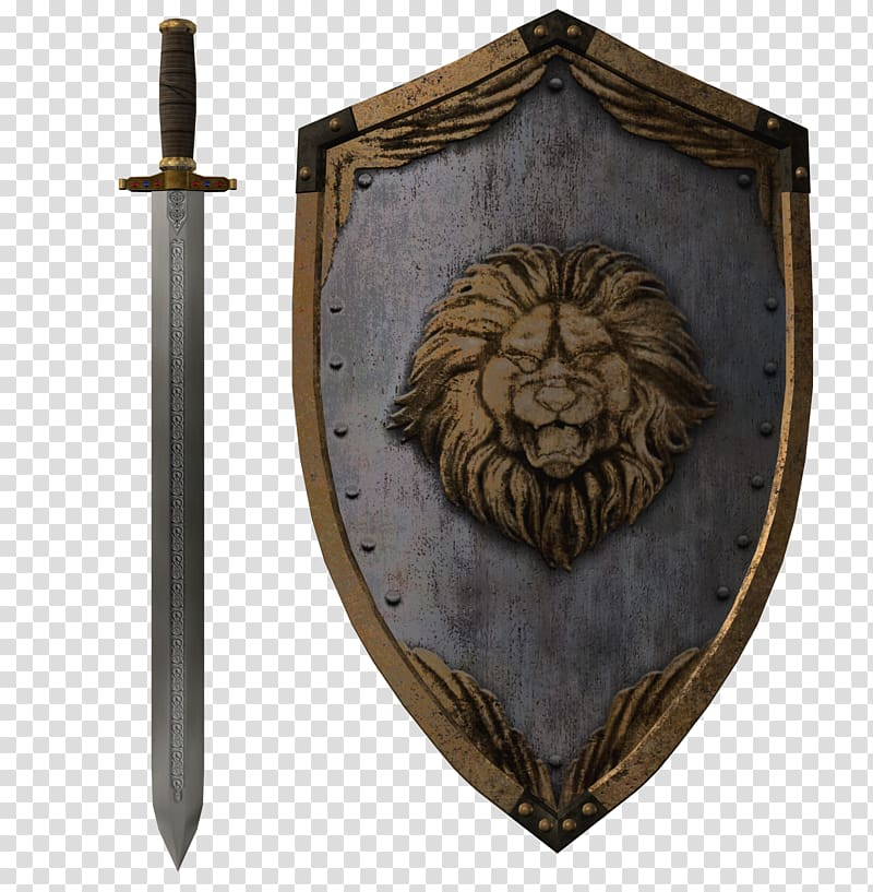 Arm in armor with dagger crest clipart transparent