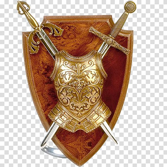 Arm in armor with dagger crest clipart transparent svg freeuse library Gold-colored armor and two sword , Middle Ages Knight Shield Sword ... svg freeuse library