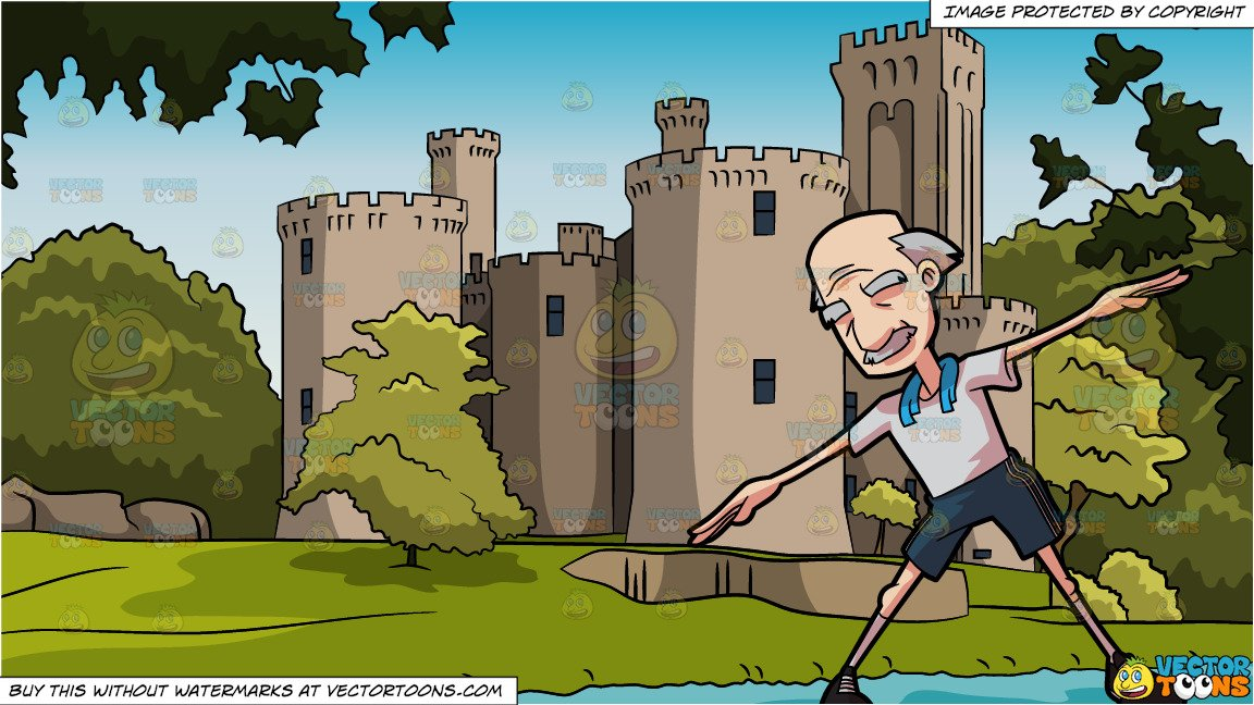 Arm stretch on wall clipart graphic freeuse stock A Grandpa Stretching His Arms and High Wall Castle Background graphic freeuse stock