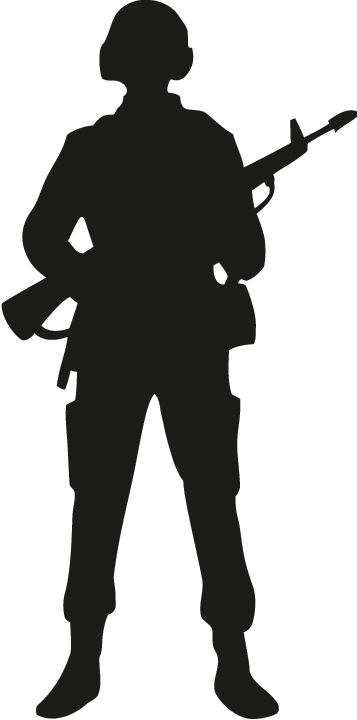 Rifle shooting sihouette standing clipart