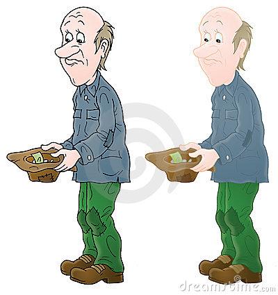 Armer mann clipart. Der karikatur stockfotos stockbilder