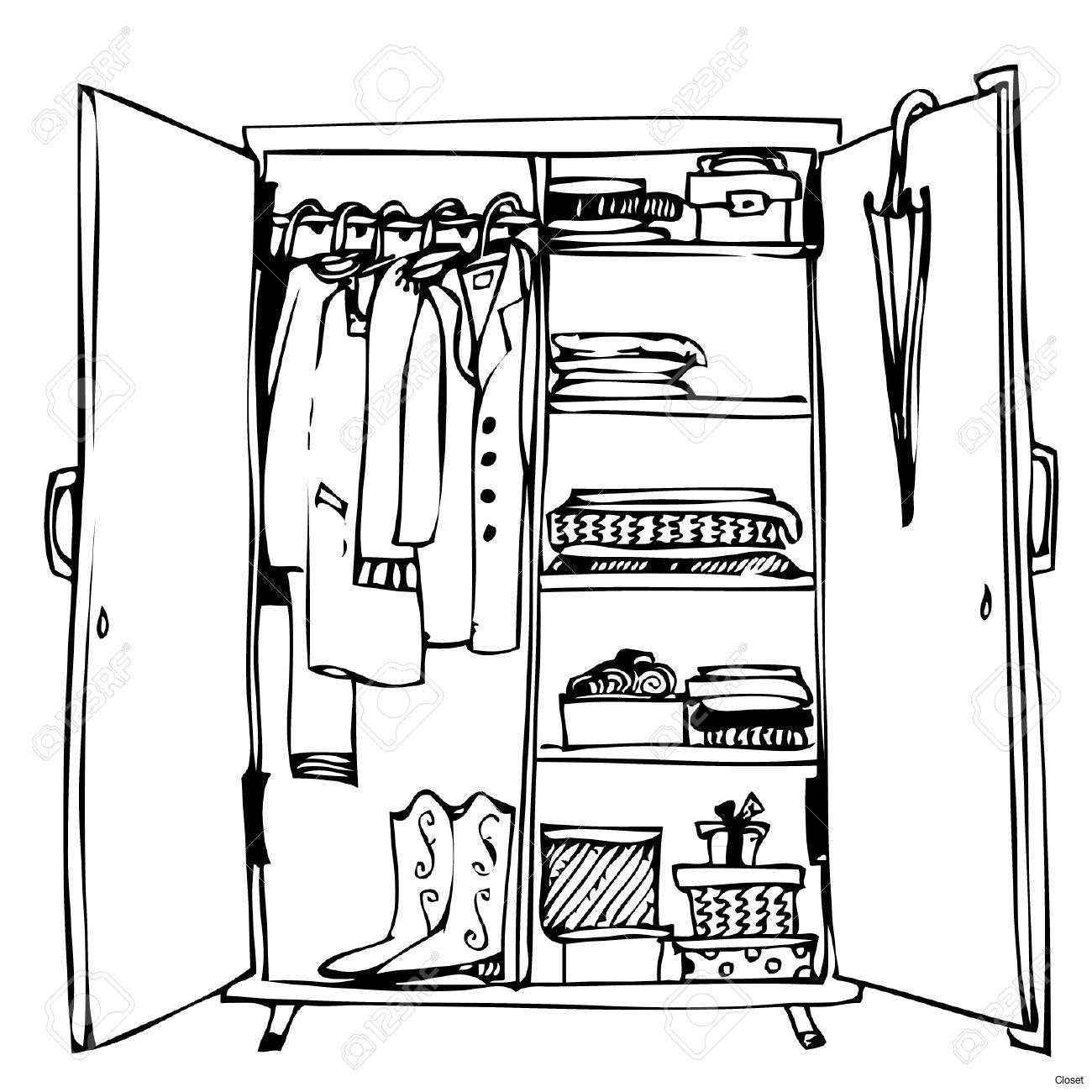 Armoire clipart black and white png library Closet clipart free download on scubasanmateo png library
