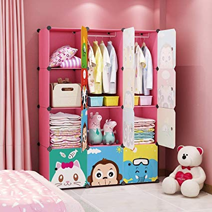 Armoire with clothing clipart vector free library MAGINELS Children Wardrobe Kid Dresser Cute Baby Portable Closet Bedroom  Armoire Clothes Hanging Storage Rack Cube Organizer Large Pink 8 Cube & 2  ... vector free library