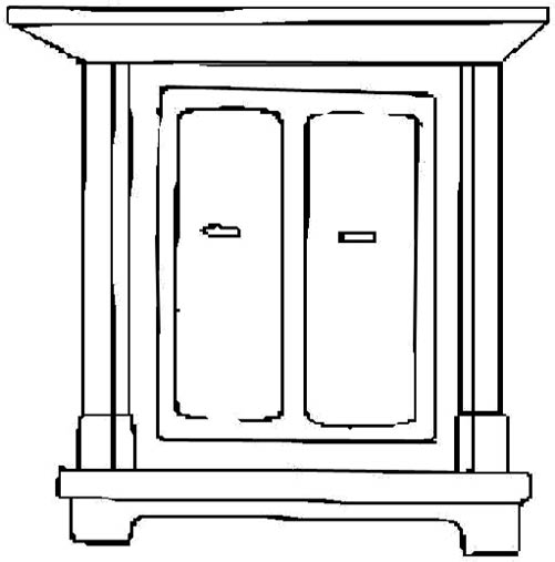 Cat climbing structure clipart black and white