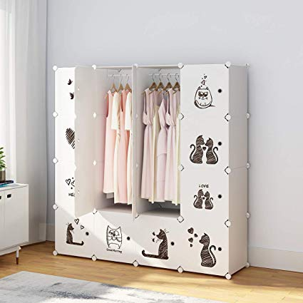 Armoire with clothing clipart graphic royalty free library KOUSI Portable Clothes Closet Wardrobe Bedroom Armoire Dresser Cube Storage  Organizer, Capacious & Custom-RB-CAT (10 Cubes 2 Hanging Clothes) graphic royalty free library