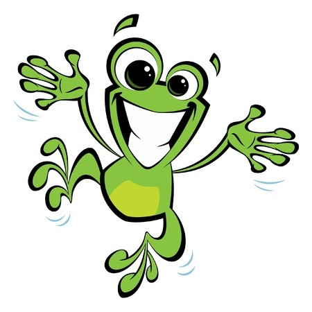 Arms and legs spread out clipart picture freeuse library Happy cartoon green smiling frog jumping excited and spreading his ... picture freeuse library