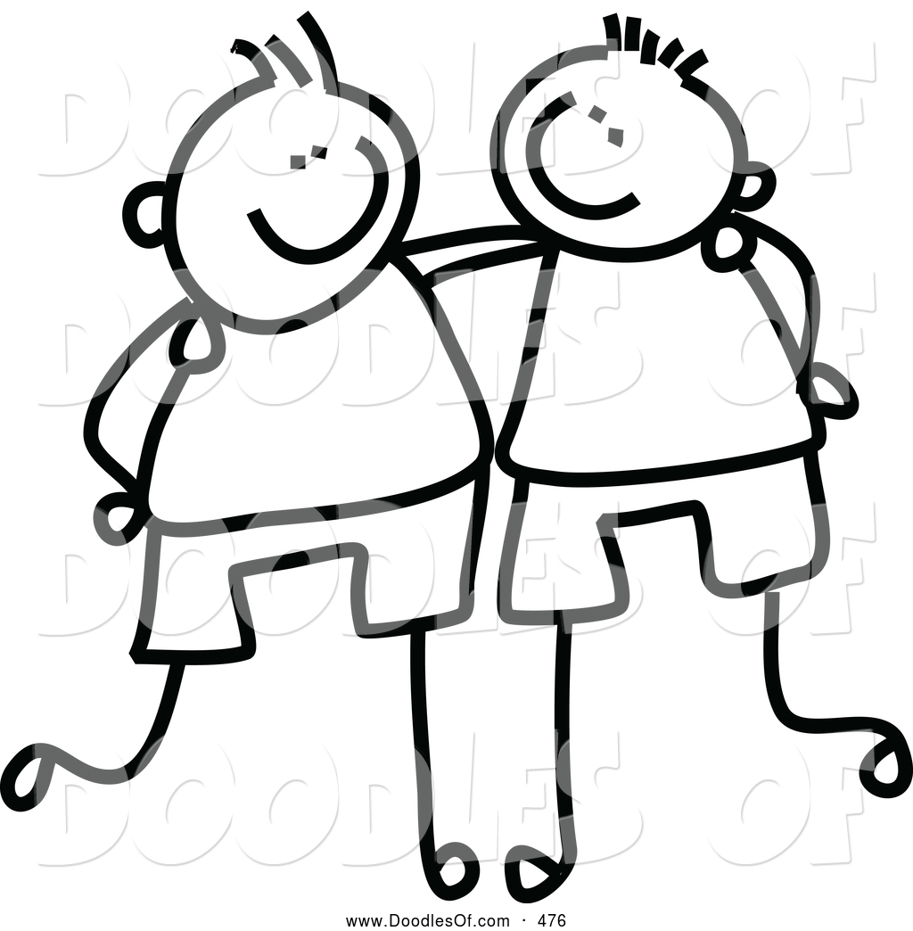 Arms arount clipart vector black and white Vector Clipart of a Childs Sketch of Friendly Black and White Boys ... vector black and white