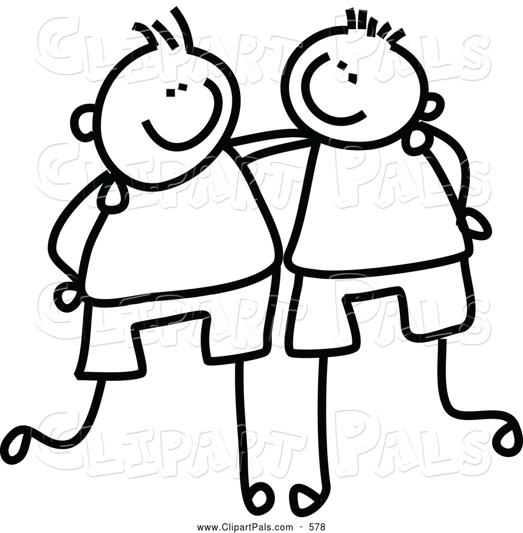 Arms around each other clipart svg black and white Friend Clip Art Pal Clipart Of A Coloring Page Childs Sketch Black ... svg black and white