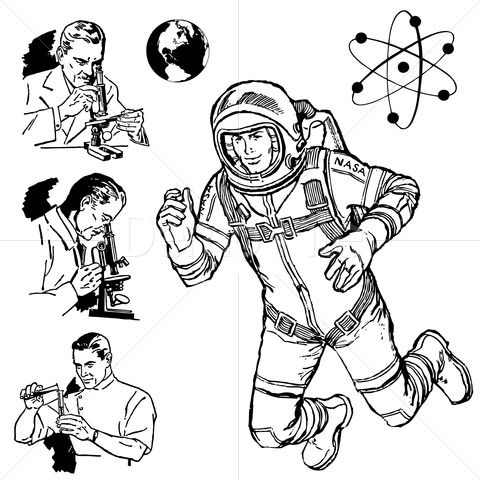 Neil armstrong clipart picture royalty free download Vintage Science Graphics, in honor or Neil Armstrong. | Stock Vector ... picture royalty free download