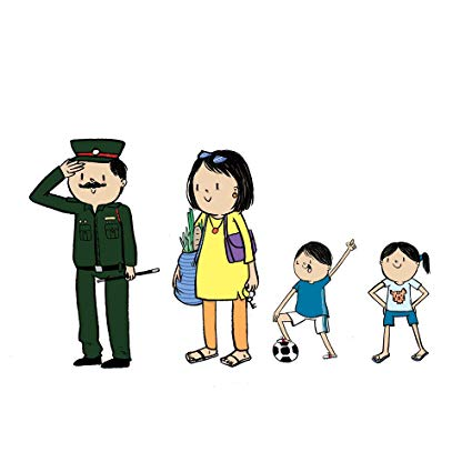Army and daughter cartroon clipart vector black and white library Indian Army - Dad, Mom, Son & Daughter - Colour: Amazon.in: Car ... vector black and white library