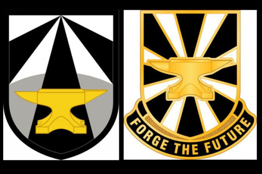 Army unit patches clipart graphic black and white stock Army Futures Command unveils unit patch that features golden anvil ... graphic black and white stock