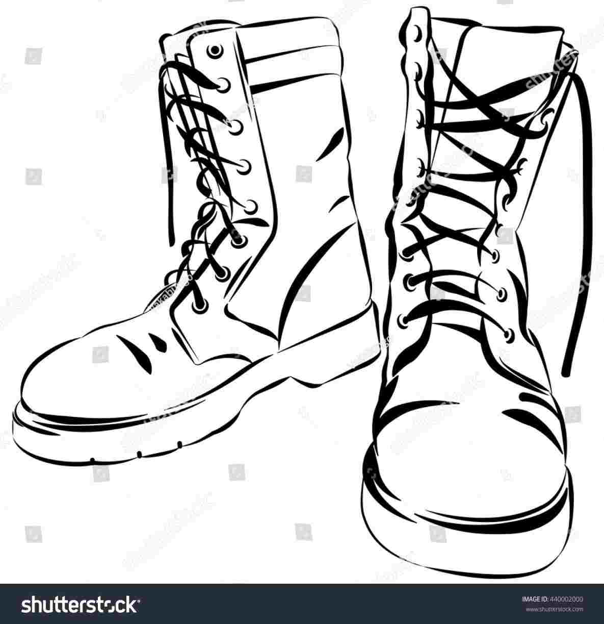 Army boots clipart vector black and white stock Combat Boots How To Draw Boots | Drawing Work vector black and white stock