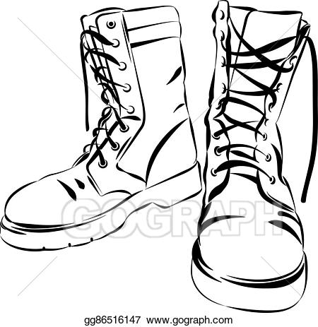 Army boots clipart graphic freeuse stock Vector Illustration - Military leather worn boots vector ... graphic freeuse stock