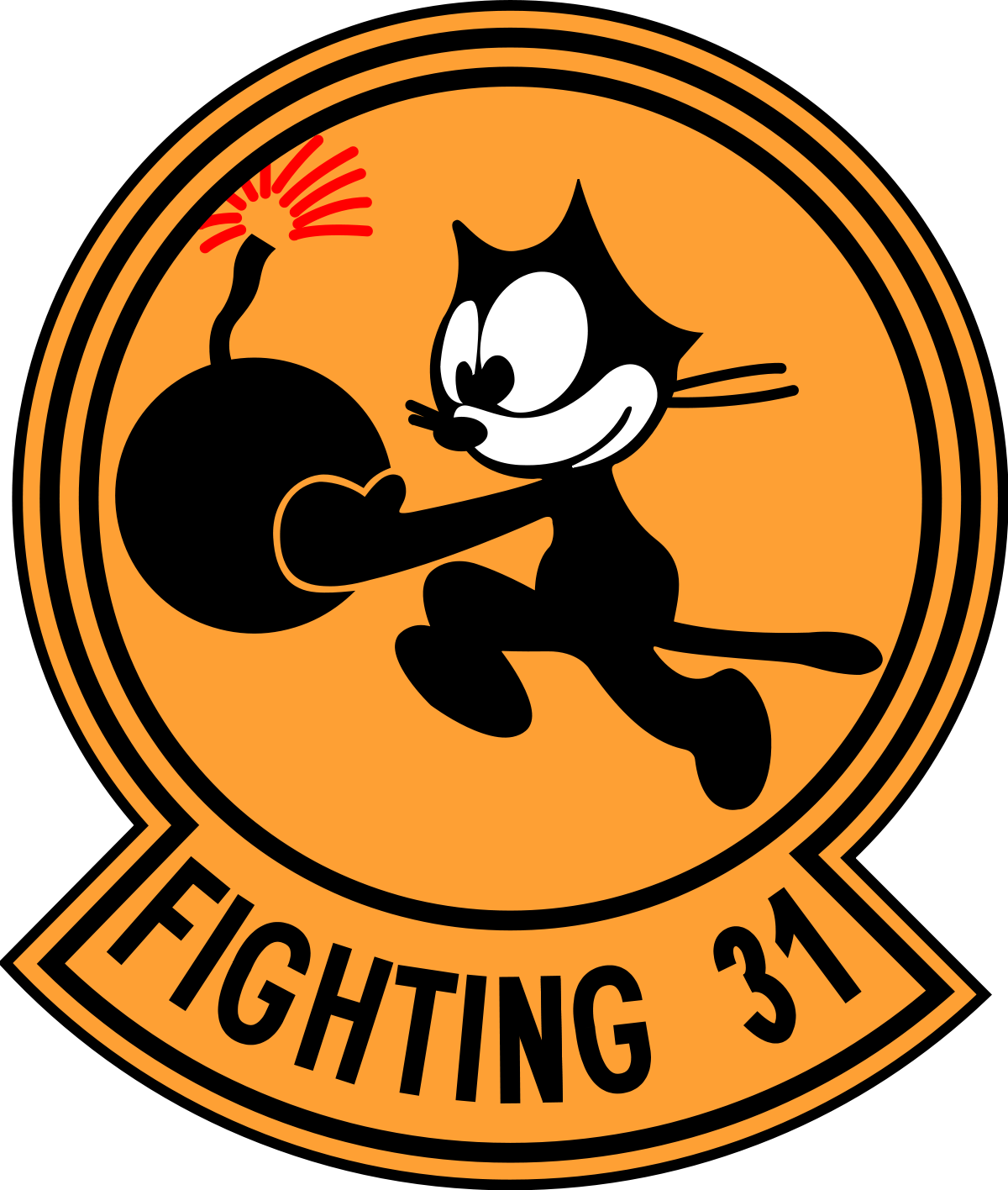 Cat bowling clipart vector black and white VFA-31 - Wikipedia vector black and white