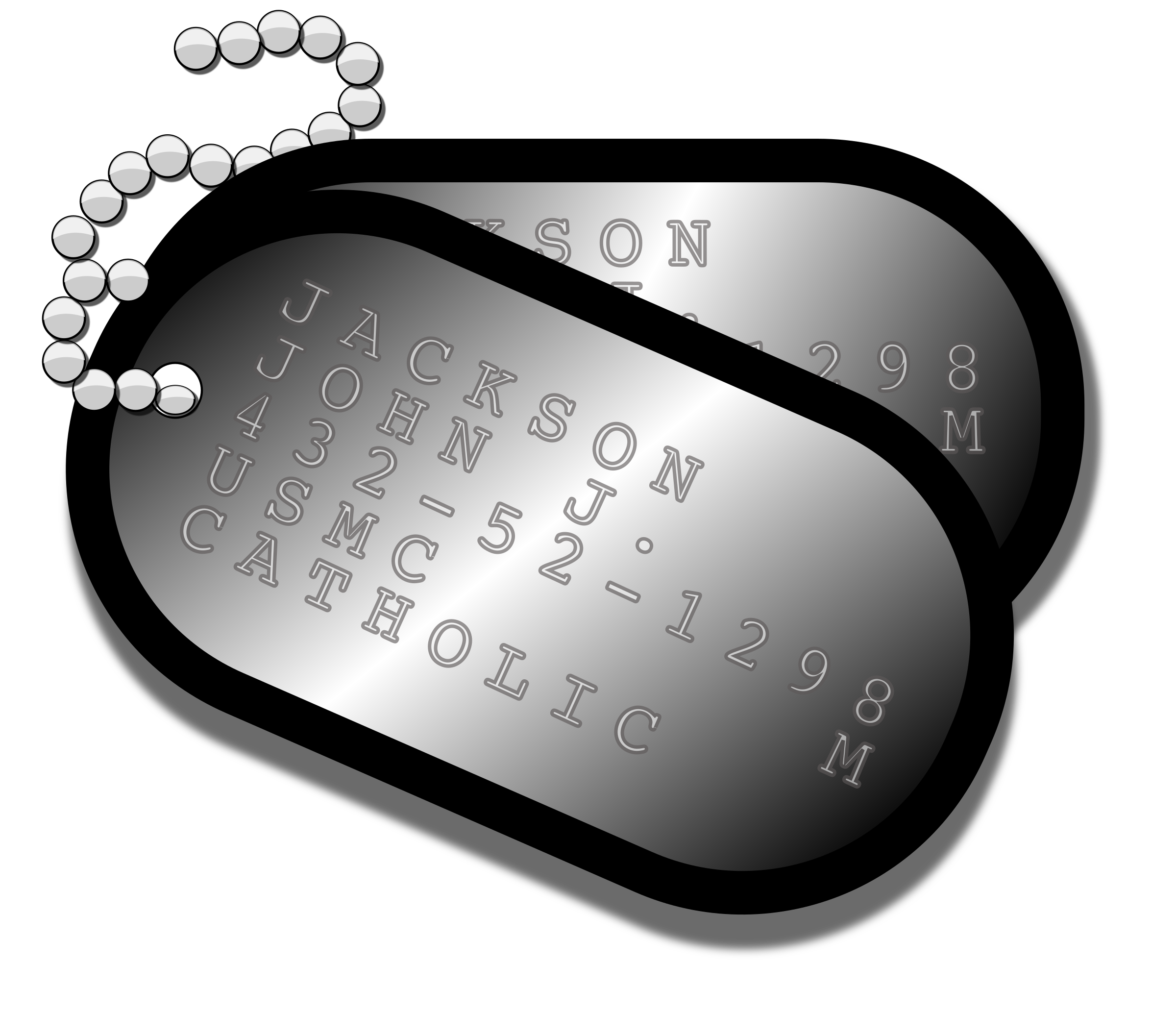 Dog tags clipart black and white jpg library download Clipart - Military Dog Tags jpg library download