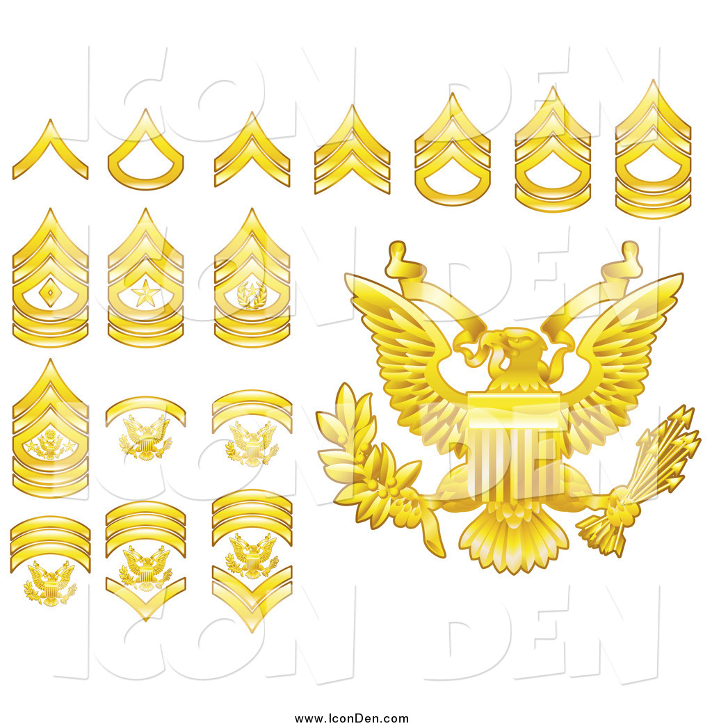 Army rank patches clipart clipart free download Clip Art of Gold Military American Army Enlisted Rank Insignia Icons ... clipart free download