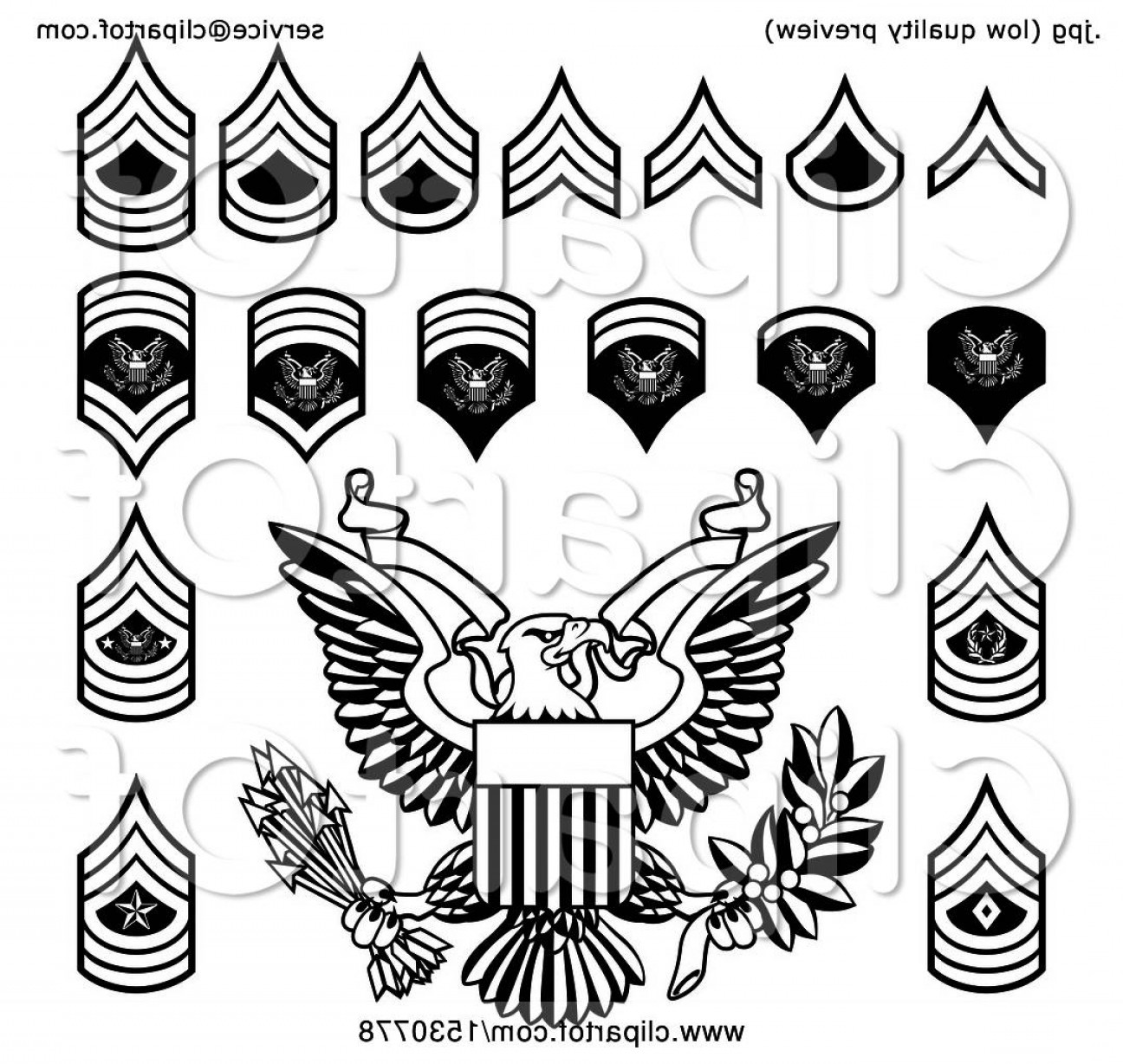 Army rank patches clipart black and whitw graphic transparent download Black And White American Military Army Officer Rank Insignia Badges ... graphic transparent download