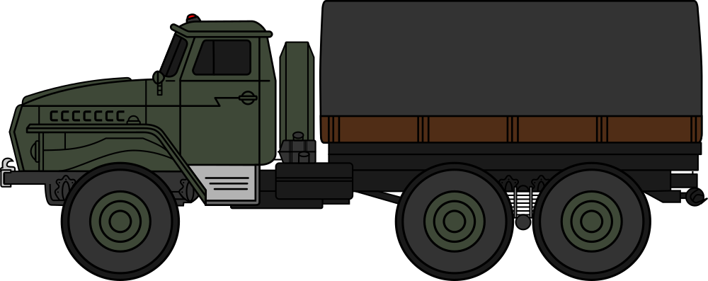 Army truck clipart picture black and white library OnlineLabels Clip Art - Ural-4320 Military Truck (Coloured) picture black and white library
