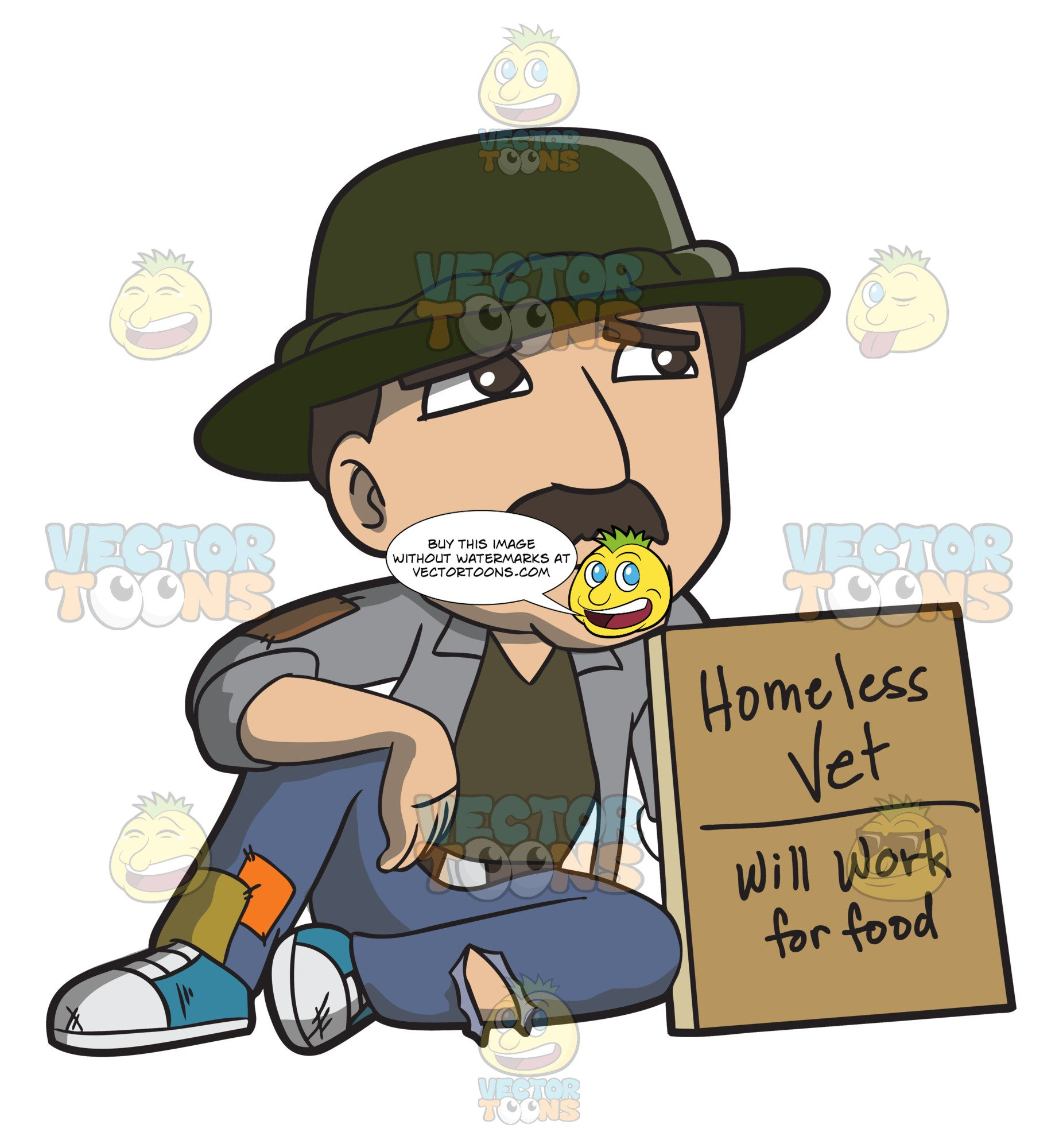 Army vet clipart svg black and white stock A Homeless War Veteran Asking For Work svg black and white stock