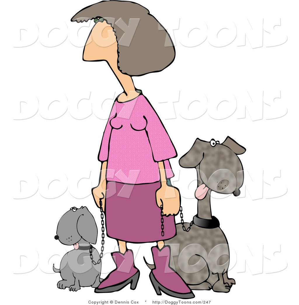 Around the block clipart svg transparent download Doggy Clipart of a Woman in Pink Taking Her Two Happy Dogs for a ... svg transparent download