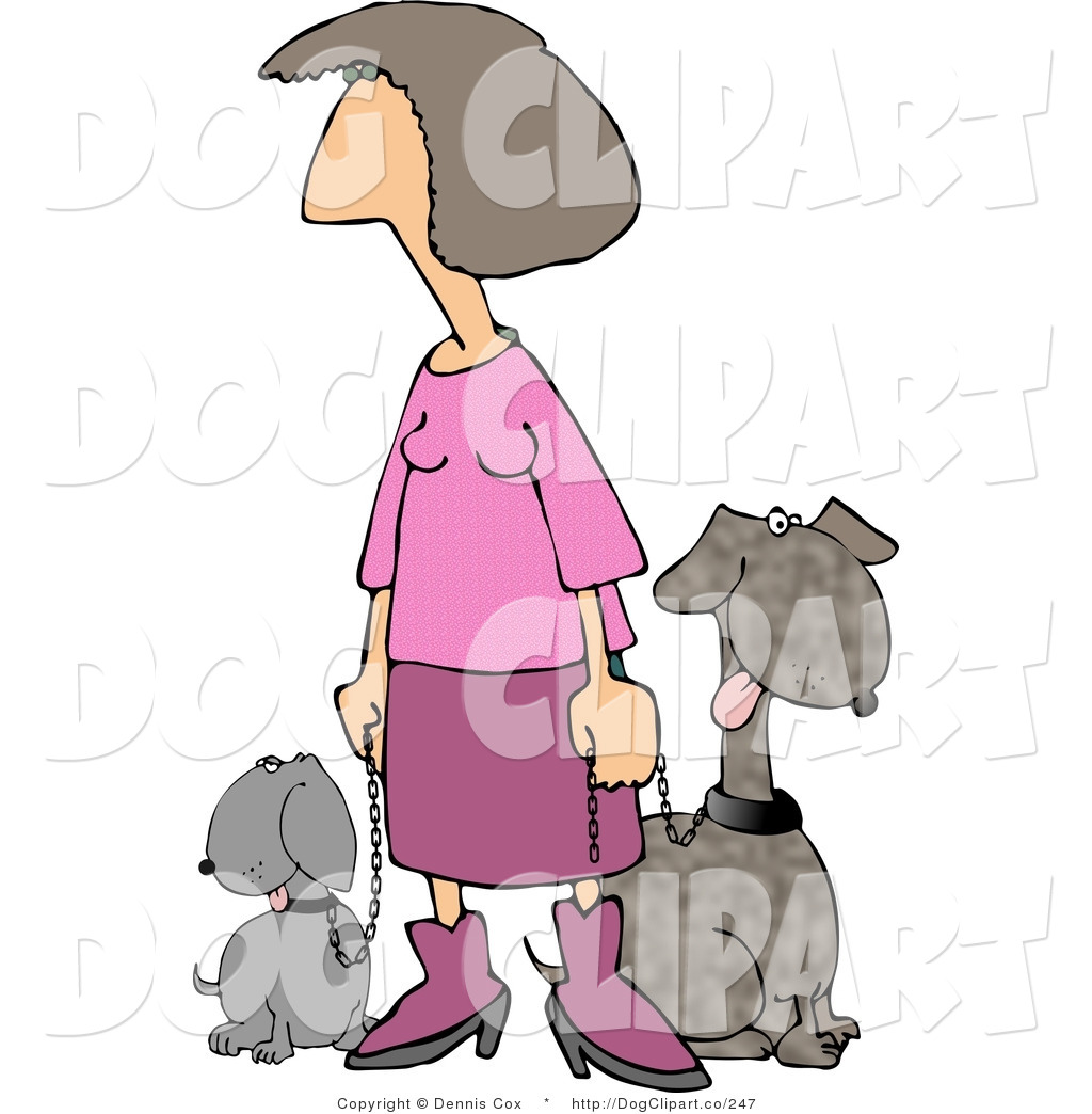 Around the block clipart graphic free Clip Art of a Woman Dressed in Pink Taking Her Two Happy Dogs for a ... graphic free