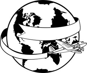 Black and white clipart of the world