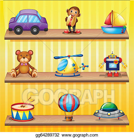 Arranged clipart image black and white Vector Illustration - Different toys arranged at the wooden shelves ... image black and white