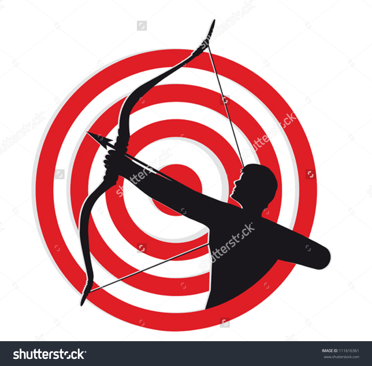 Arrow circle target clipart transparent download Archer Target Silhouette Archer Pulling Bow Stock Vector 111616361 ... transparent download