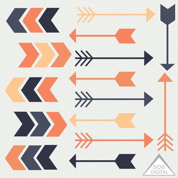 Arrow clipart cute. Vintage clipartfest retro orange