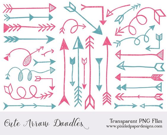 Arrow clipart cute graphic free library Arrow Digital Clipart for scrapbooking, card, invites | Pink ... graphic free library