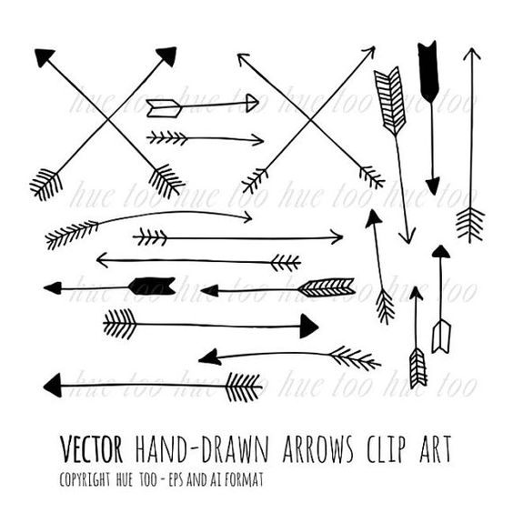 Arrow clipart free tribal clip black and white library Vector arrows clip art, tribal arrow clipart, archery hand drawn ... clip black and white library