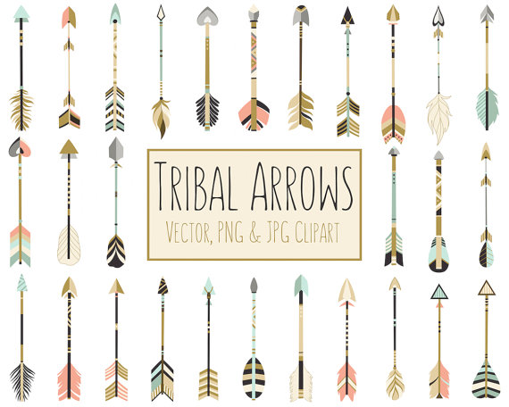 Arrow clipart gold feather clipart Tribal Arrows Boho Clipart - 28 300 DPI Vector, PNG & JPG Files ... clipart