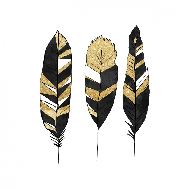 Arrow clipart gold feather clipart download Black and golden feathers design Vector | Free Download clipart download