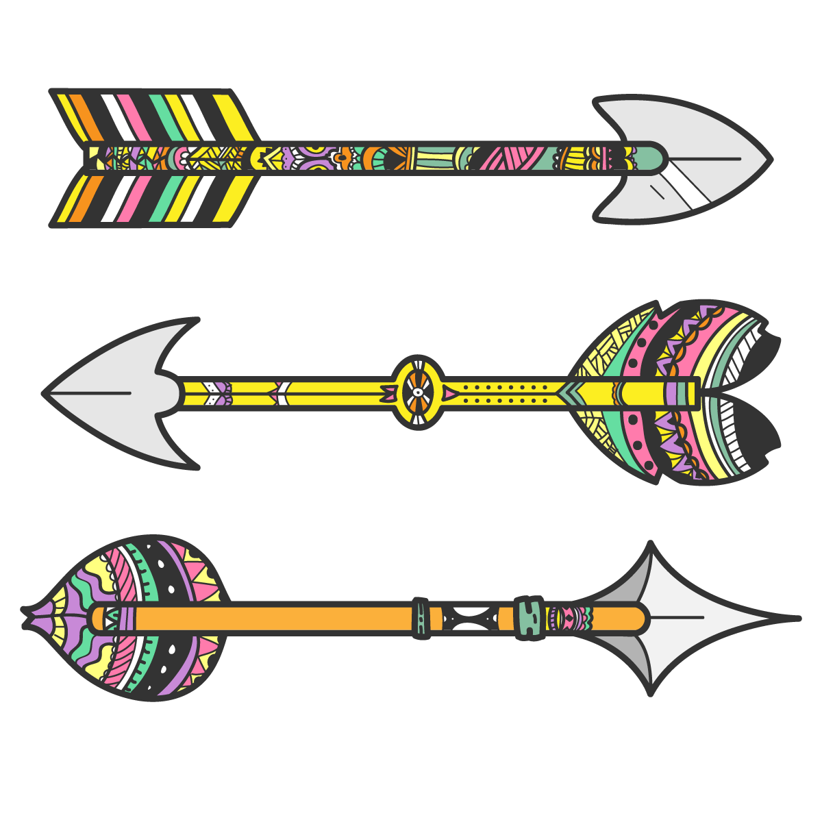 Tribal arrow clip art jpg free stock Bow and arrow Tribe Clip art - Tribal vector arrows 1200*1200 ... jpg free stock