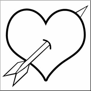 Arrow clipart wiht heart clip royalty free download Clip Art: Heart & Arrow B&W I abcteach.com | abcteach clip royalty free download