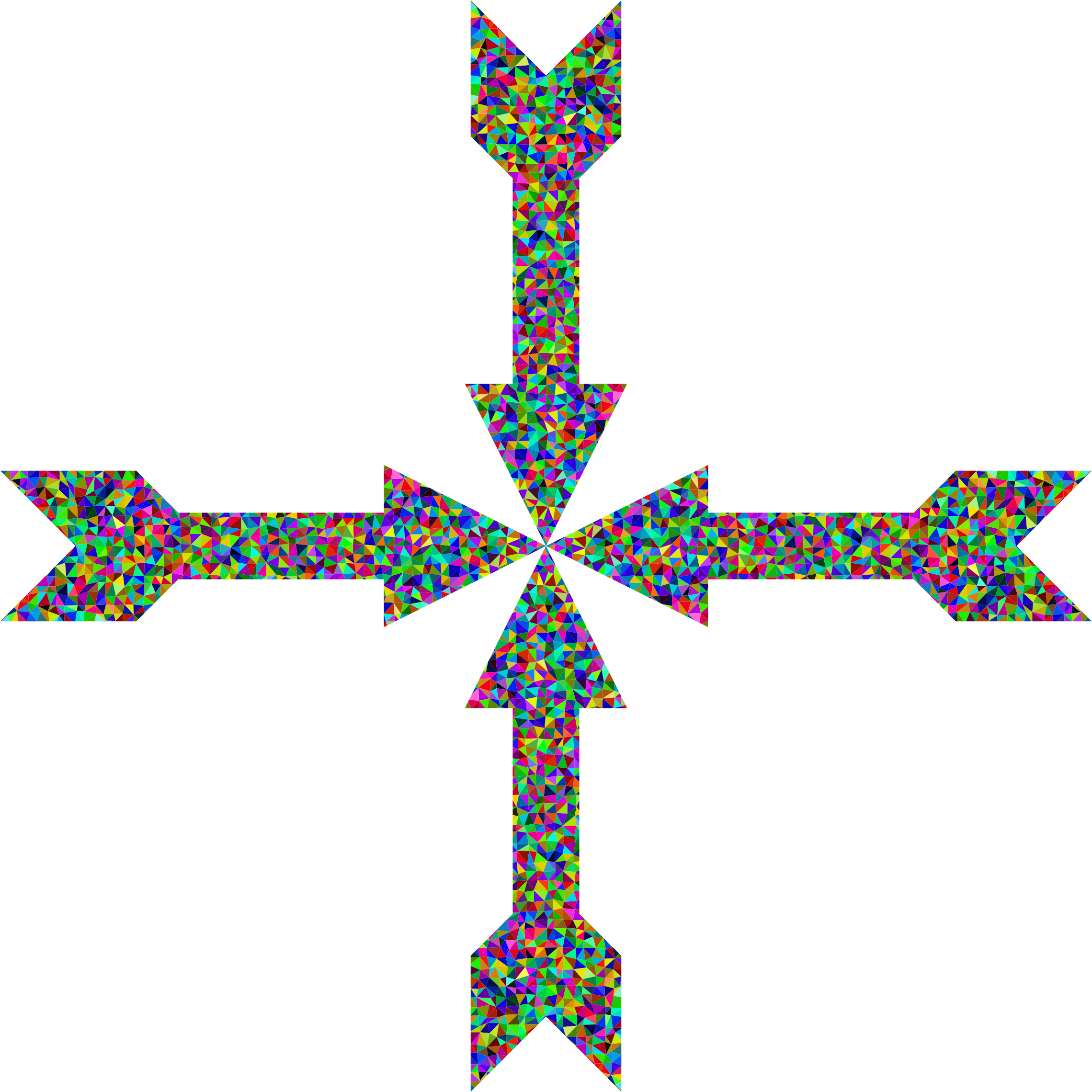 Prismatic low poly art. Cross arrow clipart