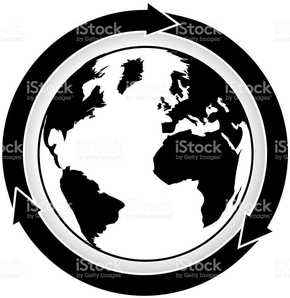 Arrow cycle clipart black and white picture transparent download Black And White World Map With Three Cycle Arrows stock vector art ... picture transparent download
