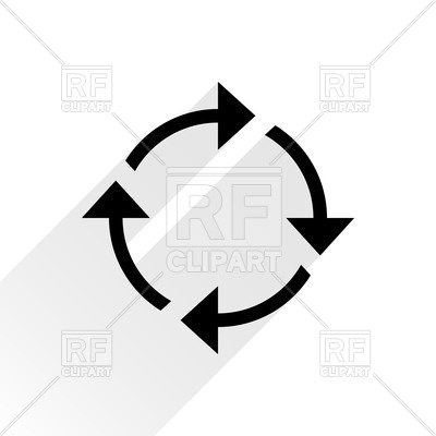 Arrow cycle clipart black and white. Thin arrows vector image