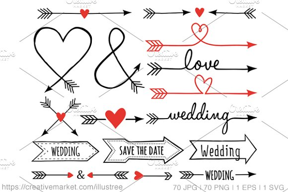 Arrow designs clip art svg library 70 wedding arrows clip art set ~ Icons on Creative Market svg library