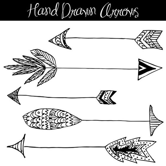 Arrow designs clip art clip black and white stock CLIP ART: Hand Drawn Arrows // Native American Style // Feathers ... clip black and white stock